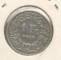 Monnaie , Suisse ,Helvetia,argent , 1 Franc , 1916 B , 2 Scans - Suisse