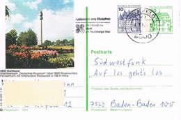 Deutschland Bildpostkarte Dortmund - Rosen, Westfalenpark, Fernsehturm - Werbestempel Bielefeld - Roses - Bildpostkarten - Gebraucht