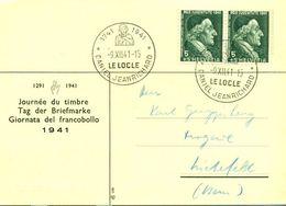 Schweiz Suisse 1941: JOURNÉE DU TIMBRE 1941 Avec Zu PJ 97 Mi 399 Yv 371 Avec O LE LOCLE 9.XII.41 DANIEL JEANRICHARD - Horlogerie