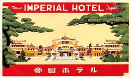 "D8539 ""TOKYO - IMPERIAL HOTEL - JAPAN"" ETICHETTA ORIGINALE - ORIGINAL LABEL - Hotel Labels"