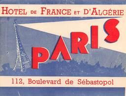 """D8540 """" HOTEL DE FRANCE ET D ALGERIE - PARIS"""" ETICHETTA ORIGINALE - ORIGINAL LABEL - Hotel Labels"""