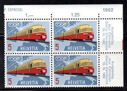 385/1500 - SVIZZERA 1962 ,  Unificato  N. 689  ***  MNH . Quartina . Treni Train - Treni
