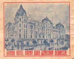"D8542 ""GRAND HOTEL ARANY BIKA SZALLODA DEBRECEN"" ETICHETTA ORIGINALE - ORIGINAL LABEL - Hotel Labels"