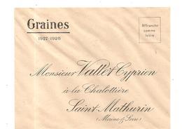 Enveloppe De Graines Des Etablissements Vallet Cyprien à La Chalotière à Saint Mathurin De 1927 - Petits Métiers