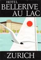 """D8544 """" HOTEL BELLERIVE AU LAC - ZURICH"""" ETICHETTA ORIGINALE - ORIGINAL LABEL - Hotel Labels"""