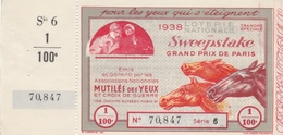 Loterie Nationale 1938 - Sweepstake - Chevaux Hippisme équitation Horse Pferd - Lottery Tickets