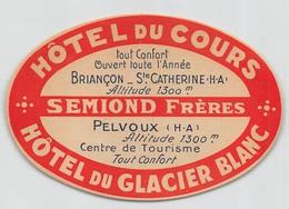 """D8545 """" HOTEL DU COURS - HOTEL DU GLACIER BLANC - SEMIOND FRERES"""" ETICHETTA ORIGINALE - ORIGINAL LABEL - Hotel Labels"""