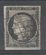 """N°3a Oblitéré Grille (sur Blanc), Variété """"filet Brisé En Haut""""      - Cote 70€ - - 1849-1850 Cérès"""