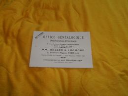 BUVARD ANCIEN DATE ?. / OFFICE GENEALOGIQUE RECHERCHES D'HERITIERS. / MM. BELLER & LHOMOND. PARIS 10e.. - Carte Assorbenti