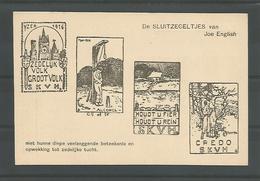 Oude Postkaart Pentekening  Joe English.   De Sluitzegeltjes - War 1914-18