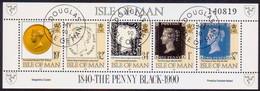 ISLE OF MAN 1990 SG 442a Sheetlet. Horiz.strip Of 5 Used 150th Anniv Of Penny Black - Isle Of Man