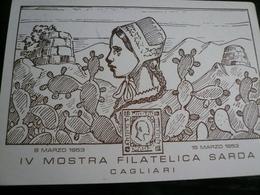 Cagliari 4^ Mostra Filatelica 1953 Annullo Al Retro Non Viaggiata - 1946-60: Marcofilie