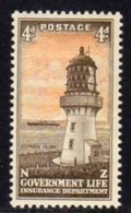 New Zealand 1947 4d Life Insurance Lighthouse, Hinged Mint, SG L47, Ref. 1 - Lighthouses