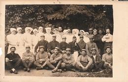Très Rare Photo Carte Groupe Soldats Blessés Hôpital Militaire Guerre 14-18 - 1914-18