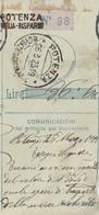 Potenza. 1923. Annullo Guller POTENZA *MOVIMENTO ORDINARIO* + Lineare POTENZA VAGLIA - RISPARMI,  Su Ricevuta Vaglia - 1900-44 Victor Emmanuel III