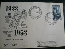 Verona 1953 Giornata Del Francobollo - 1946-60: Marcophilia