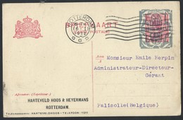 8n.Postcard. The Mail Was Circulated In 1922 Rotterdam (Netherlands) Falisolle (Belgium). Overprints Of Revaluation. - Brieven En Documenten