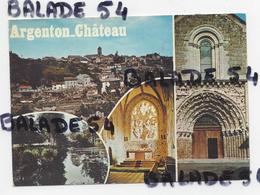 CPM - ARGENTON-CHATEAU (79) Vue Générale, La Rivière, Le Choeur De L'église Et Le Porche De L'église - Argenton Chateau