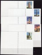 USA 2003 South Eastern Lighthouses Set Of 5 Stationary Cards, MNH, SG 4290/4, Ref. 14 - Lighthouses