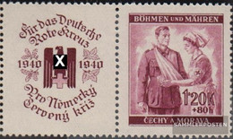 Bohemia And Moravia WZd8 With Zierfeld Unmounted Mint / Never Hinged 1940 Red Cross - Bohemia & Moravia