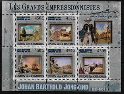 COMORES  Feuillet  ( 2009 )  * * Les Grands Impressionnistes  Johan Barthold Jongkind - Impressionisme