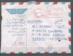 USED AIR MAIL COVER SAUDI ARABIA TO PAKISTAN METER MARK - Saudi Arabia