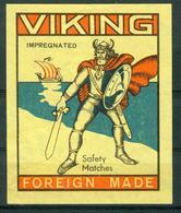 SO Zündholzschachteletikett - Viking Safety Matches (6,5x7,9 Cm) 80er Jahre Aus Lettland/Sowjetunion - Boites D'allumettes - Etiquettes