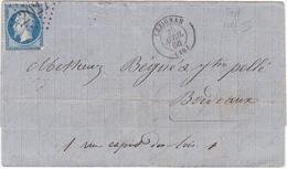 LAC De Lézignan (11) Pour Bordeaux (33) - 24 Avril 1866 - Timbre YT29 + Ob. Losange GC 2027 - Vin - Poststempel (Briefe)