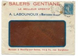 ENVELOPPE /  SEMEUSE 25c / AMBULANT USSEL A BRIVE / 1921 / SALERS GENTIANE MONTAIGNAC CORREZE - Postmark Collection (Covers)