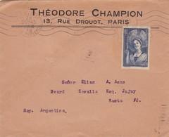 THEODORE CHAMPION. ENVELOPE CIRCULEE PARIS TO SANTA FE.YEAR 1938 AUTRE MARQUE. STAMP CHAMPAGNE BLEU- BLEUP - Storia Postale
