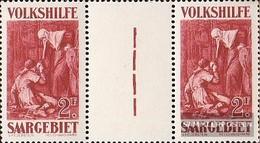 Saarland 139ZW Zwischenstegpaar MNH 1929 People's Aid: Dipinti (II) - 1920-35 Saargebiet – Abstimmungsgebiet