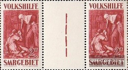 Saarland 139ZW Zwischenstegpaar MNH 1929 People's Aid: Dipinti (II) - Nuovi