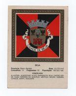 CARD PORTUGAL ALENTEJO BEJA Maps HERALDIC COAT OF ARMS Castle Cow Bull Eagle - Beja