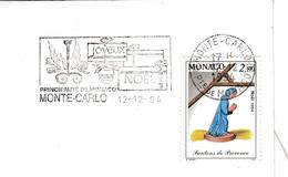 Monte-Carlo 1994 - Flamme Joyeux Noël - Enveloppe Entière - Marcophilie