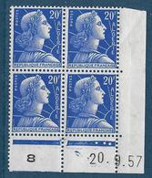 20 F Marianne De Muller D'Algérie Bloc De 4 Coin Daté 20.9.1957 Presse 8 – Neuf Sans Charnière - 1955- Marianne Of Muller