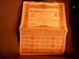 """Part  Beneficiaire""""Union Des Beurreries De France"""" Paris  1909 Beurre Alimentation. - Industrie"""