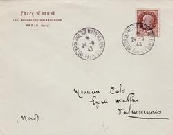 Exposition Matières De Remplacement - Paris 1943 - BT Sur Pétain - Ersatz Rationnement - WW II - Guerre - Marcophilie (Lettres)