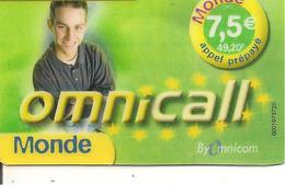 CARTE-a-PREPAYEE-OMNICOM-7.5€-49.20FF-HOMME-MONDE-V° BLEU-31/05/2003-V° Code Pt N° Lasers /Fond Gris-GRATTE-TBE - Andere Voorafbetaalde Kaarten