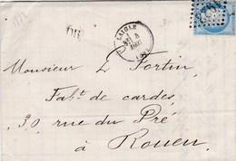 LAC De St-Martin D'Ecublei (Laigle - 61) Pour Rouen (76) - 4/12/1872 - Timbre YT60 + Ob. Los. GC1923 - CAD 16 & 17 + OR - 1849-1876: Periodo Classico