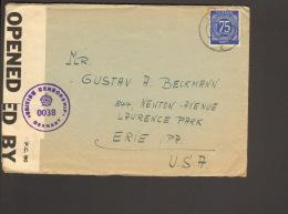 Alli.Bes. 75 Pfg.Ziffer Auf Auslandsbrief Aus Lehrte In USA V.1947 M.brit.Zensur Nr.0038 - Gemeinschaftsausgaben