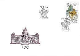 FDC 1000 Czech Rep.200 Years Of The National Museum In Prague 2018 Heraldic Lion Whale Ammonite Kelt Sculpture - Altri