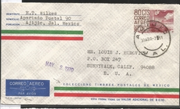 J) 1970 MEXICO, POSTAL STATIONARY, CU, MODERN ARCHITECTURE OF MEXICO, CIRCULATED COVER, FROM JALISCO TO CALIFORNIA - Mexico