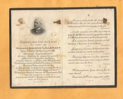 IMAGE PIEUSE CARTE MORTUAIRE GENEALOGIE FAIRE PART AVIS DECES CAMBRAI CAPITAINE ARTILLERIE INGENIEUR 1831 1912 - Avvisi Di Necrologio