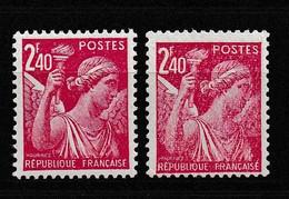 1944 Variété Sur Y&T 654 Claire Et Foncée N** - Curiosities: 1941-44 Mint/hinged