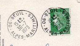 1973--cachet Manuel  BEUIL -06  Type Marianne Scheffer  Sur Cpm  Gorges Du Cians - Multivues - Marcophilie (Lettres)
