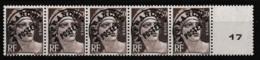 1922-47 Préoblitérés Y&T N° 95 Bande De 5 Avec Vignette Centrale Numérotée N** - Préoblitérés
