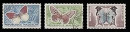 Madagascar Scott # 306-308, Set Of 3 (1960) Butterflies, Used - Madagascar (1960-...)