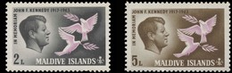 Maldives Islands Scott # 159-160. Set Of 2 (1965) John F. Kennedy, Mint Never Hinged - Maldives (1965-...)