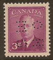 CANADA 1949 3c OHMS Perfin SG O161 HM #IL51 - Perforés