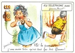 GERMAINE BOURET  EDITION MD  5697 4/1  AU TELEPHONE ALLO LES POMPIERS J'VOUS ENVOIE TOTOR QU'EST TOUT FEU TOUT FLAMME - Bouret, Germaine